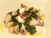 Grilované kalamáry - recept na grilované kalamáry nadívané listovým špenátem