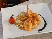 Krevety na grilu na olivovém oleji s ananasem a kokosem