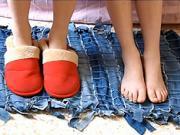 Koberec ze starých džín - Jak ze starých džín / riflí vyrobit zajímavý koberec
