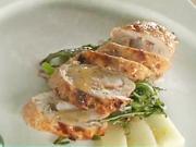 Krůta s krevetami -  recept na grilované krůtí maso s krevetami na melounu s rukolou