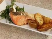 Grilovaný losos - recept na grilovaného lososa na olivovém oleji s bramborami