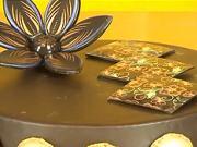 Čokoládové  kostky na dortu - zdobení dortu  technikou