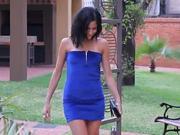 Krátké modré šaty se zipem