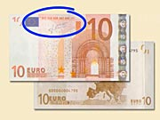 10  EUR - Jak rozeznat ochranné prvky 10 € bankovek