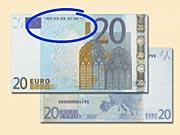 20 EUR - Jak rozeznat ochranné prvky 20 € bankovek