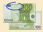 100 EUR  - Jak rozpoznat ochranné prvky 100 € bankovek