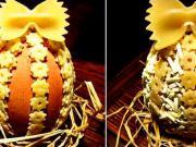 Velikonoční vajíčko zdobené těstovinami