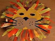 Lev z papiru - karnevalová maska lva z papíru - papírový lev