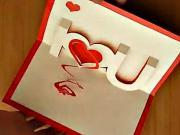 I love U - 3D  pozdrav se srdcem
