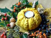 Halloweenská dekorace - Halloweenská dekorace z listů a ozdobné tykvičky