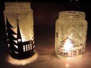 Svícen z láhve na zavařeniny - zimní motiv