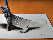 3D Krokodýl - jak nakreslit 3D krokodýla - 3D kreslení