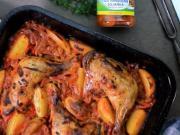 Pečené kuřecí stehna se zeleninovou směsí - recept