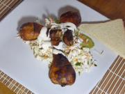Pečené kuřecí stehýnka v jemně pikatnej medové marinádě a salátem z čínského zelí