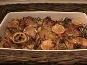 Pečené kuře na bramborách s citrónem - recept na pečené kuře
